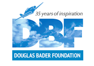 Douglas Bader Foundation logo, with blue text and a blue image of a plane with '35 years of inspiration' written next to it