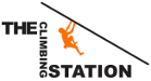 The Climbing Station Logo with black text and an image of an orange climber hanging off a black 45 degree line