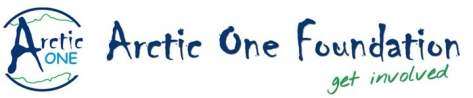 Arctic One Foundation logo. It reads: Arctic One Foundation, get involved in blue and green text