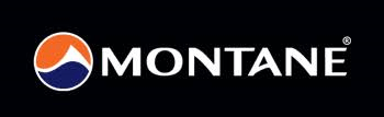 Montane logo, with a black background, white text and a circle logo which is half blue and half orange