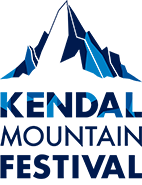 The kendal mountain festival logo, an outline of a mountain in dark blue at the top with the text, kendal mountain festival also in blue.