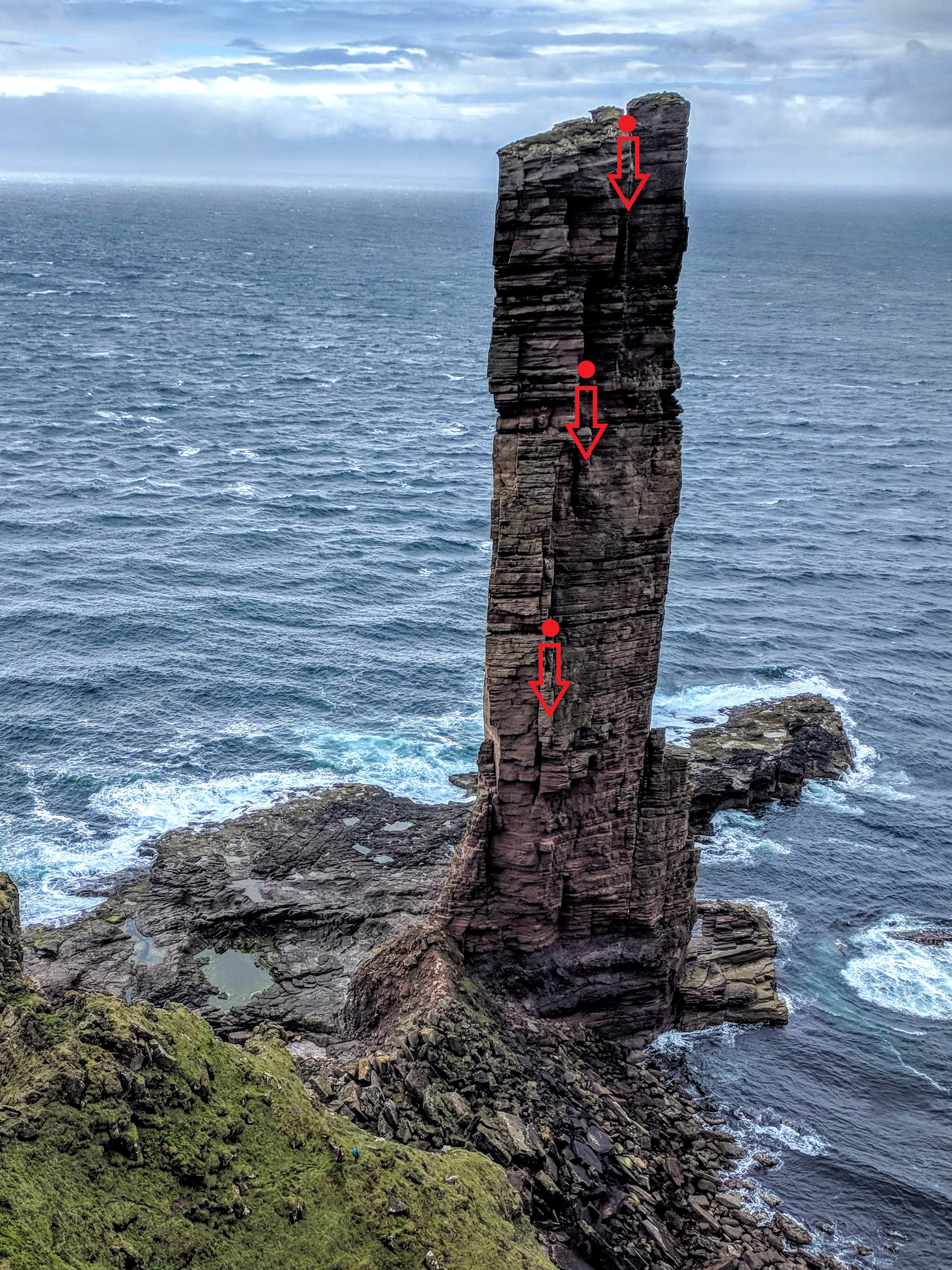 A picture showing the old man of hoy with the sea in the background. Red arrows have been drawn at 3 points on the sea stack to show where the abseil points are.