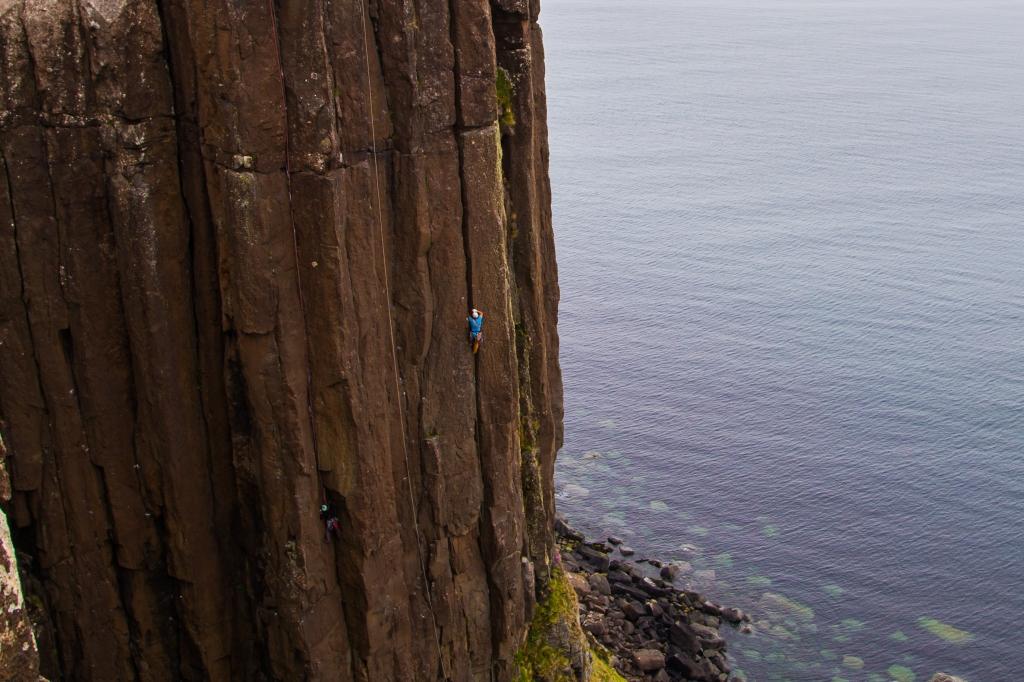 A photo of Jesse leading Internationale at Kilt Rock on the Isle of Skye.